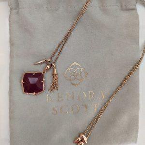 Kendra Scott Arlet Necklace - Rose Gold & Maroon